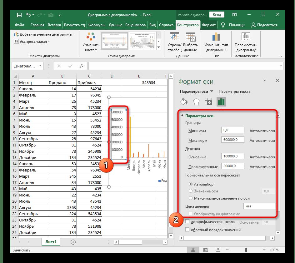 Изменение параметров осей столбчатой диаграммы в Excel при ее редактировании