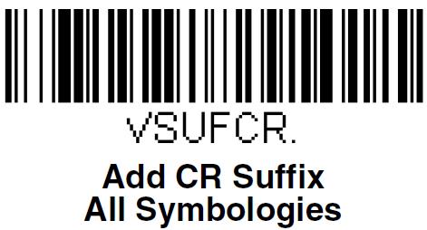 Код для добавления суффикса при настройке сканера Honeywell Voyager 1450g