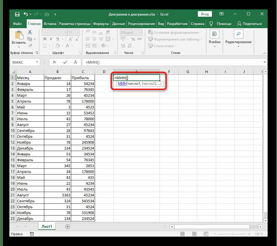 Объявление функции МИН в новой ячейке при ее написании в Excel