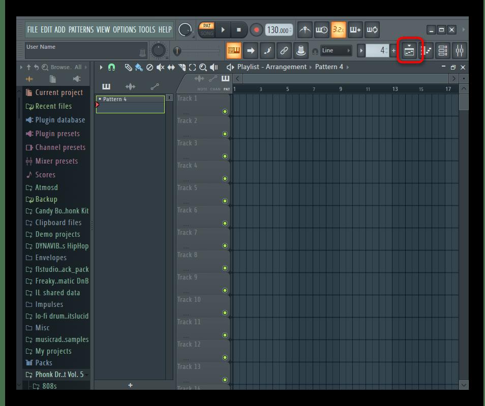 Открытие окна с плейлистом для соединения треков через программное обеспечение FL Studio