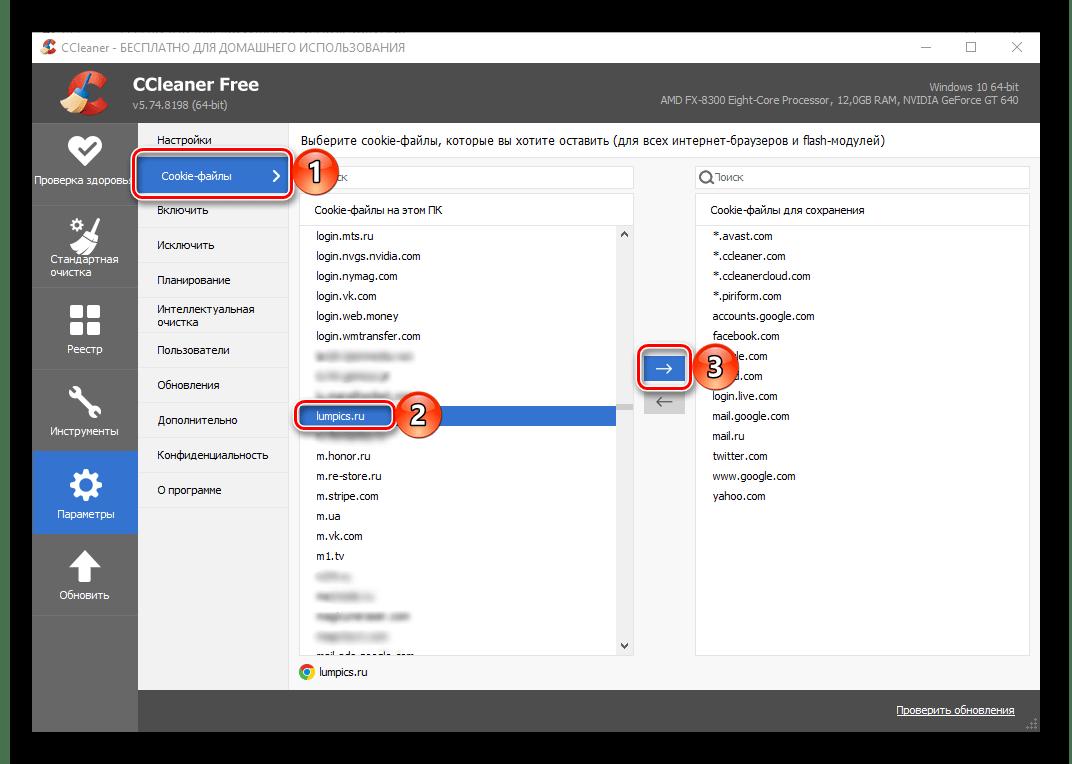 Параметры Cookie-файлов в настройках программы CCleaner для Windows