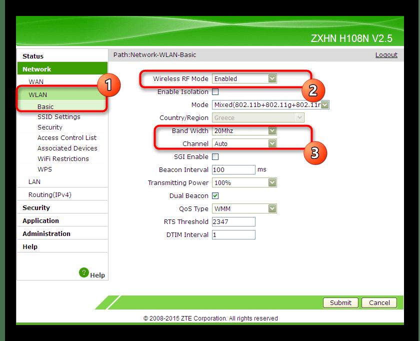 Переход к базовым настройкам беспроводной сети маршрутизатора ZTE ZXHN H118N