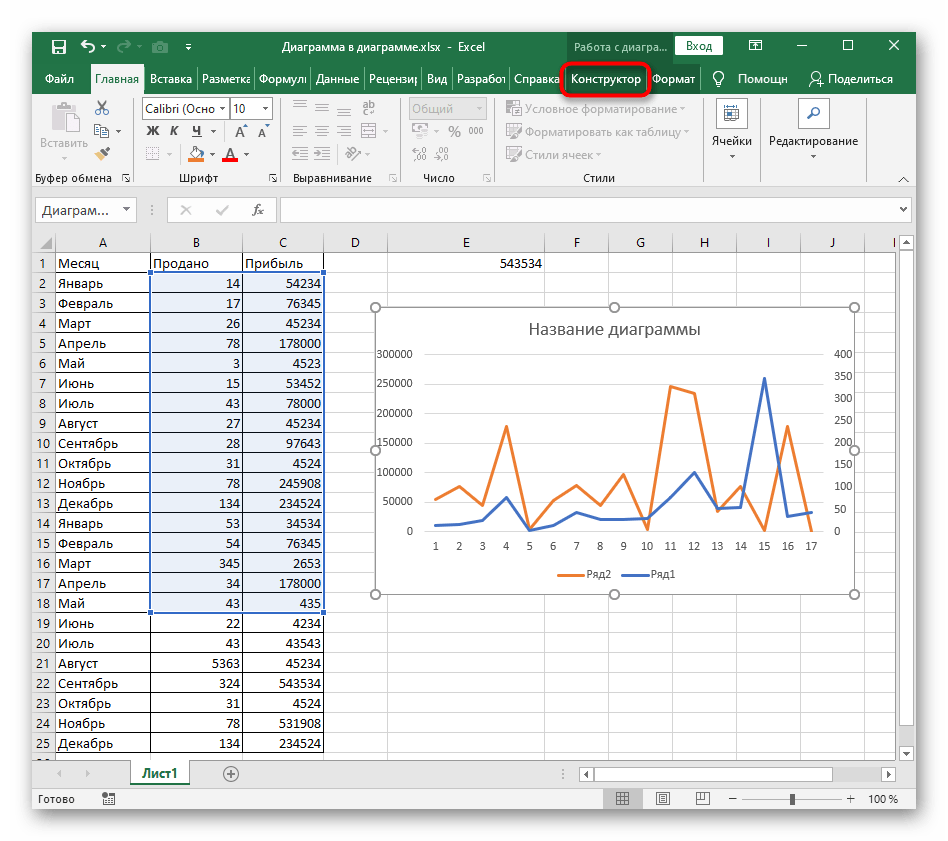 Переход на вкладку для использования кнопки смены осей графика в Excel