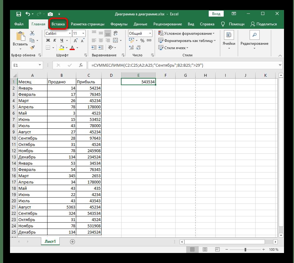 Переход на вкладку Вставка для добавления колонтитула при расположении картинки под текст в Excel