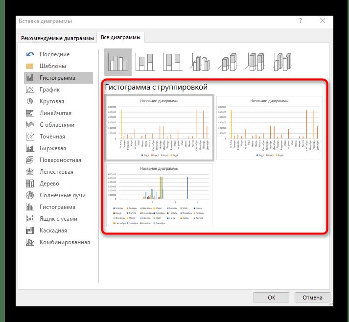 Предпросмотр столбчатой диаграммы перед ее добавлением к таблице в Excel