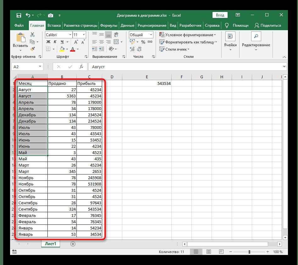 Пример сортировки по алфавиту с расширением диапазона в Excel