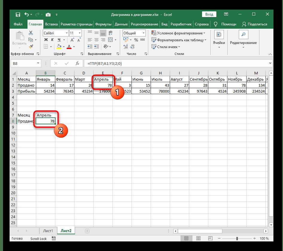 Проверка функции ГПР в Excel после ее создания