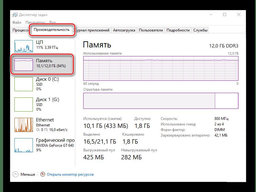 Проверка загруженности оперативной памяти на компьютере с Windows