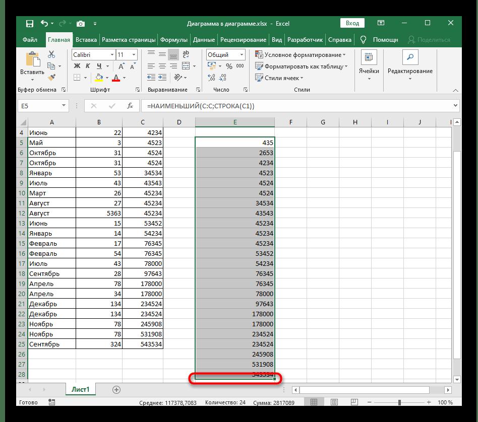 Растягивание формулы для динамической сортировки по возрастанию в Excel