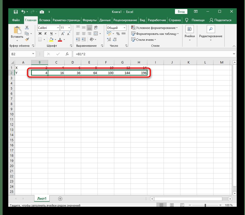 Растягивание формулы перед создание графика функции X^2 в Excel