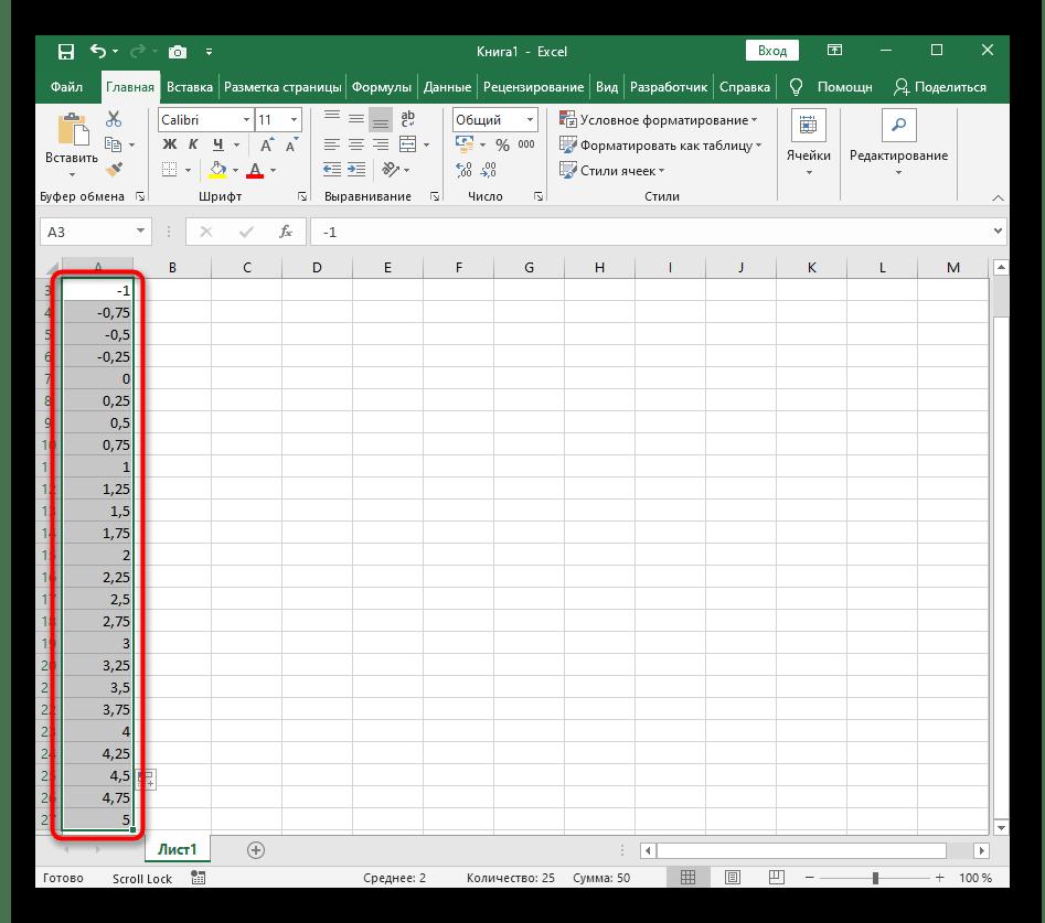 Растягивание значений при построении графика функции y=sin(x) в Excel