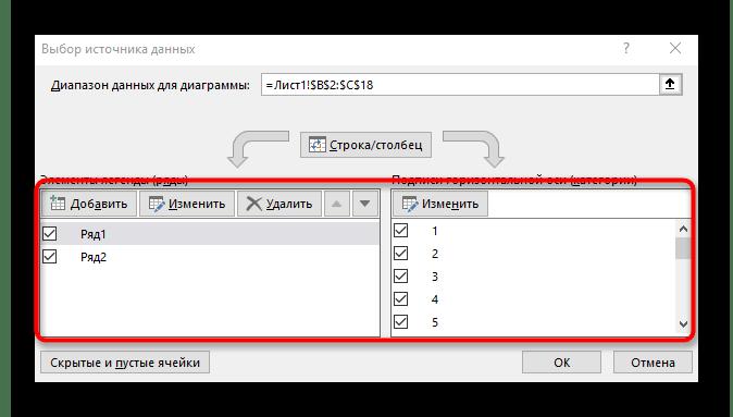 Редактирование столбцов и рядов при смене осей графика в Excel