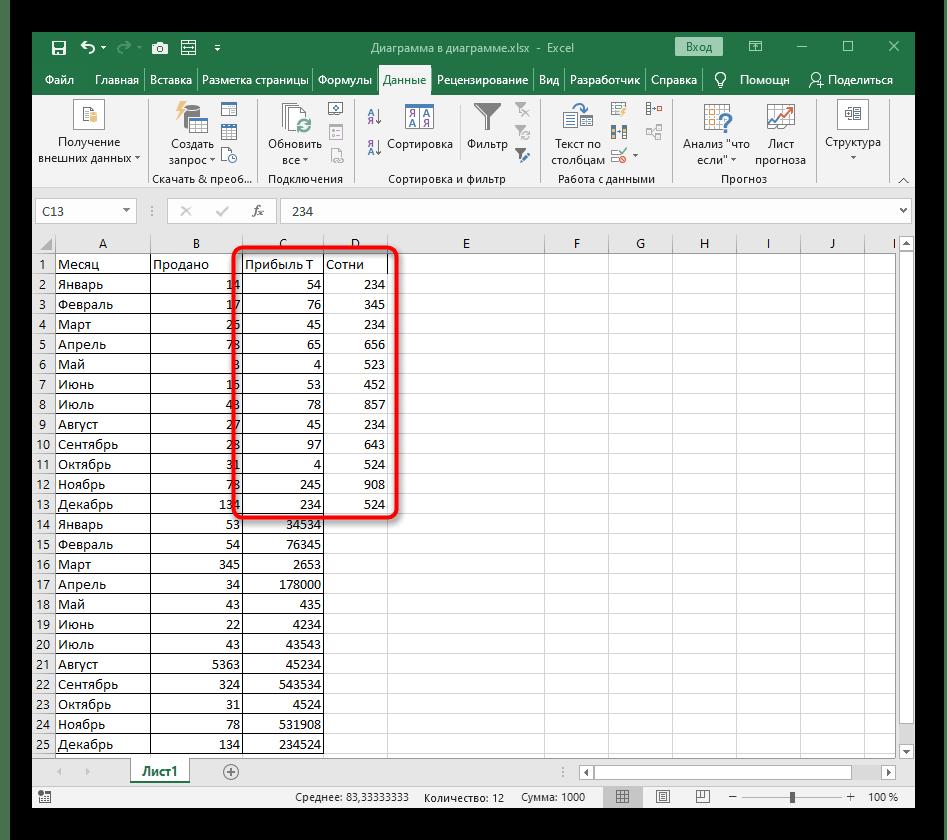 Результат быстрого разделения чисел на столбцы в Excel