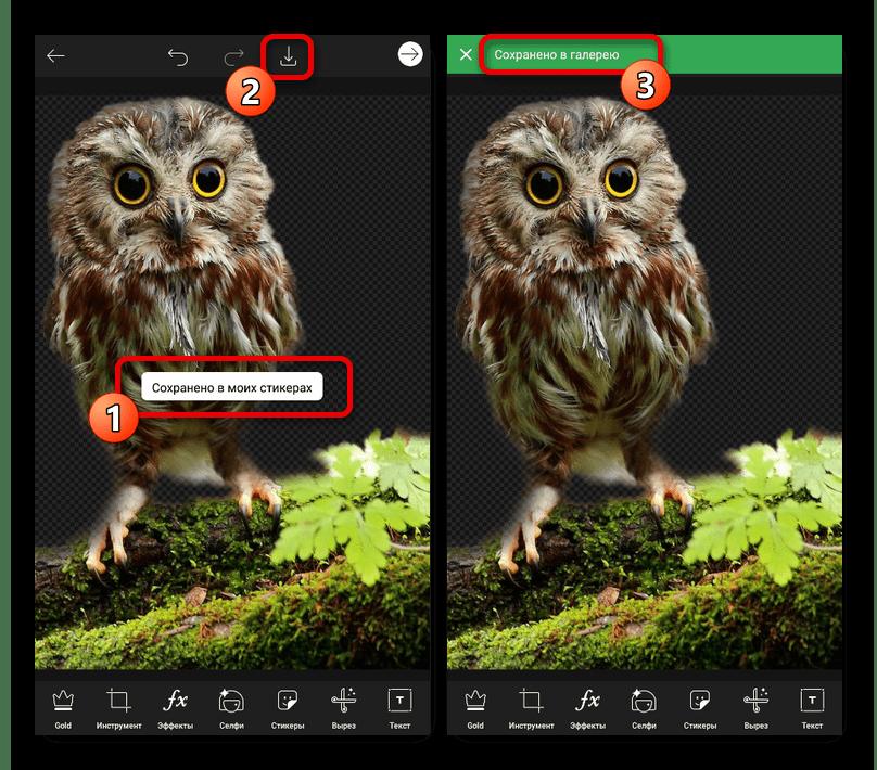 Сохранение изображения без фона в приложении PicsArt