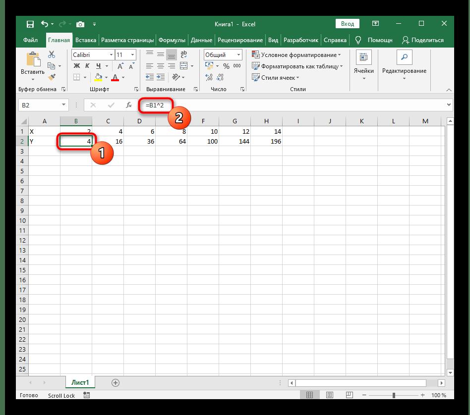 Создание формулы для автоматического расчета значений при работе с графиком функции X^2 в Excel