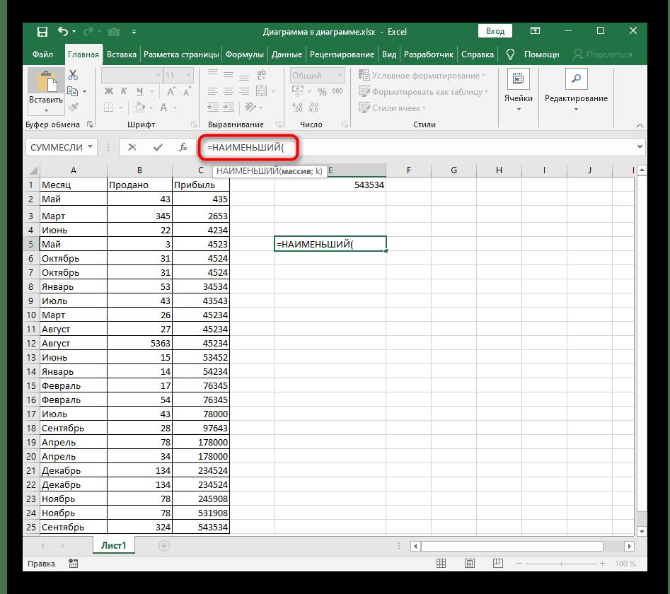 Создание новой формулы для динамической сортировки по возрастанию в Excel