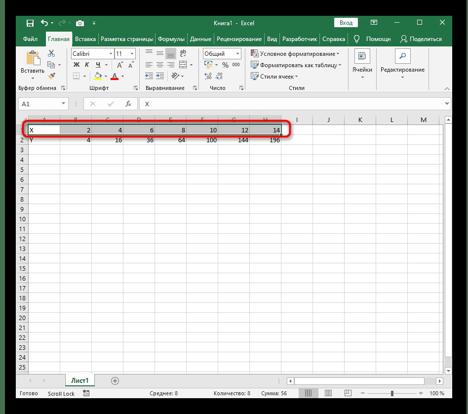 Создание первой строки для построения графика функции X^2 в Excel