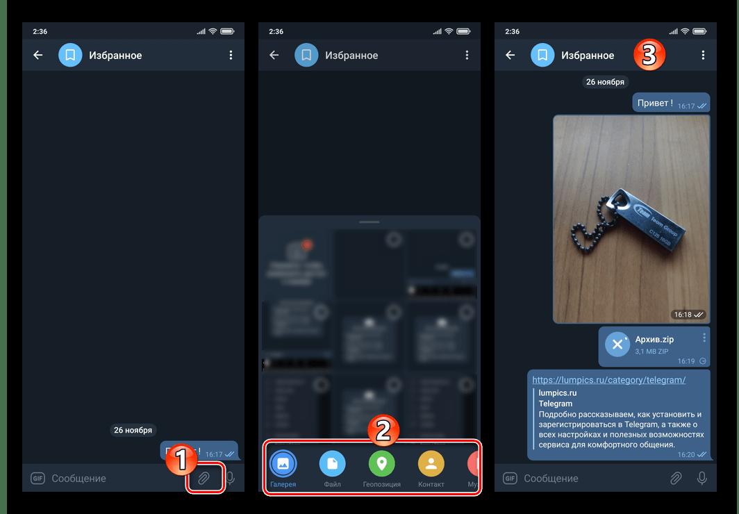 Telegram для Android - сохранение любой информации в облаке мессенджера путем отправки в Избранное