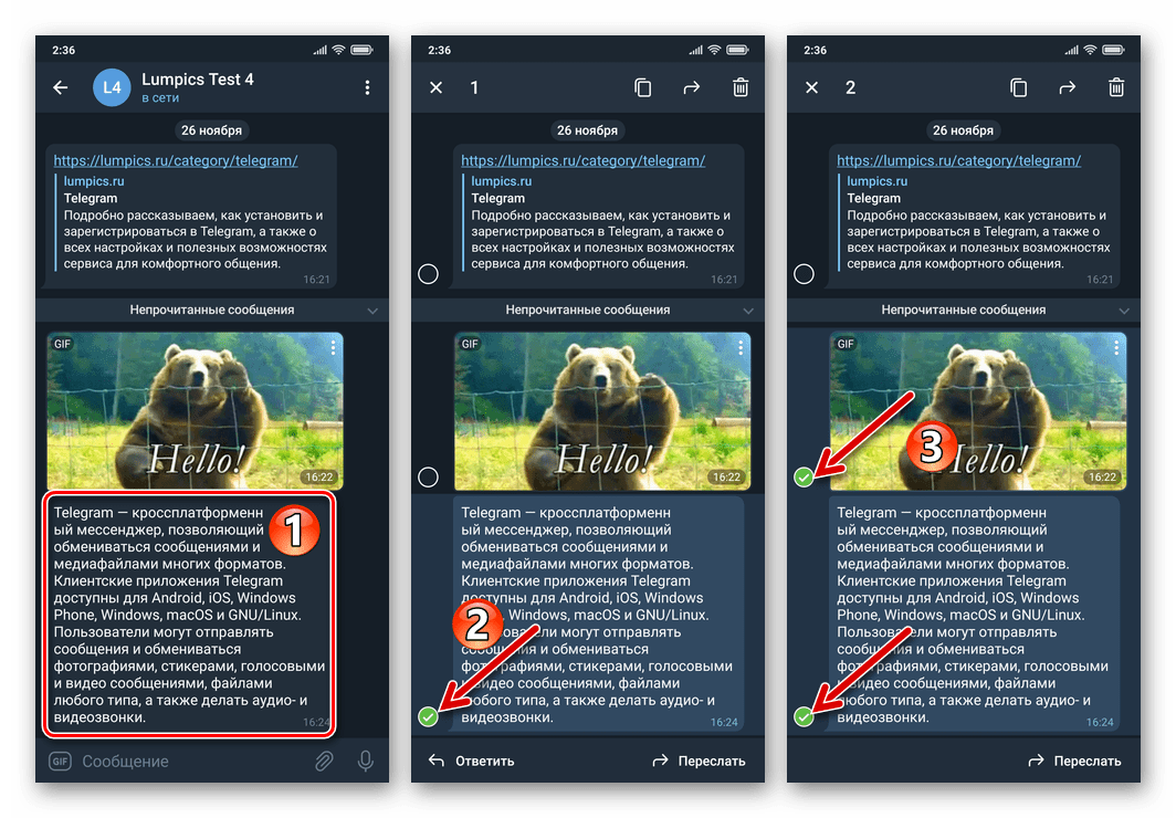 Telegram для Android - Выбор нескольких сообщений в чате для пересылки в Избранное