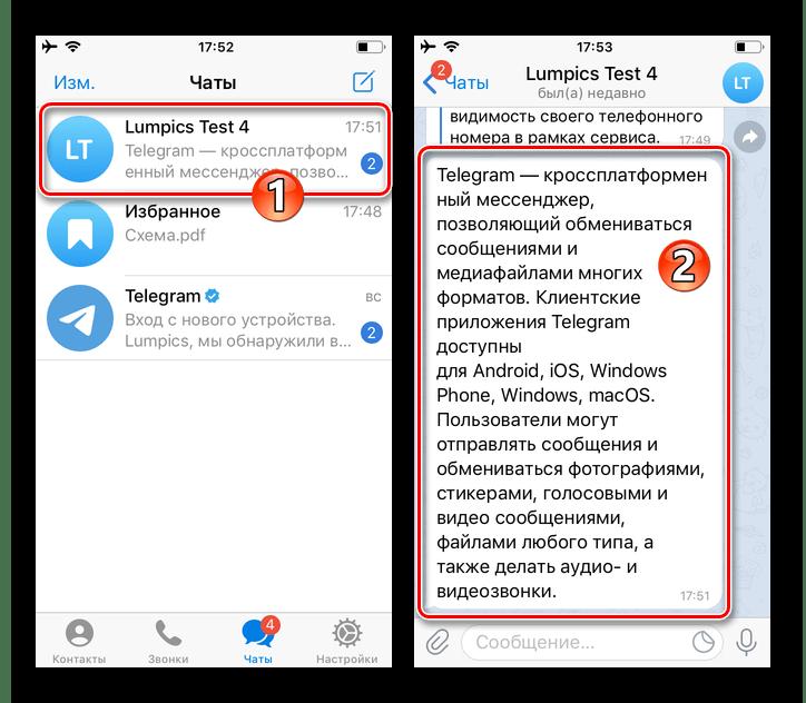 Telegram для iOS открытие чата, вызов контекстного меню сообщения в переписке
