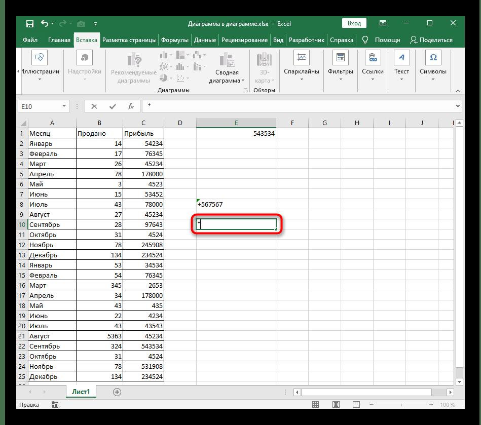 Успешная вставка специального знака плюса в ячейку Excel