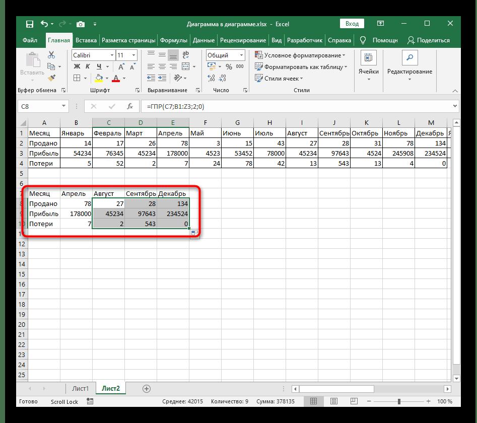Успешное растягивание функции ГПР в Excel на все значения после ее создания