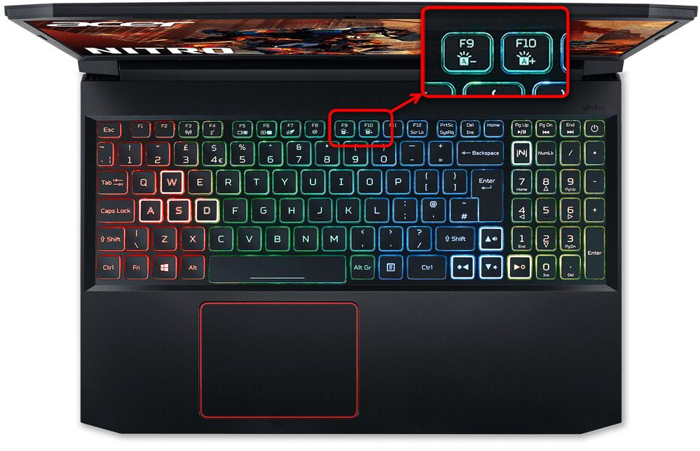 Включение подсветки клавиатуры на ноутбуках Acer Nitro