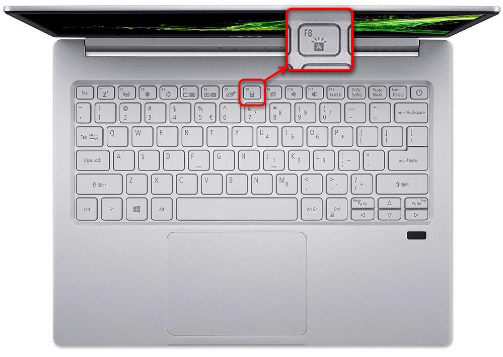 Включение подсветки клавиатуры на ноутбуках Acer Swift