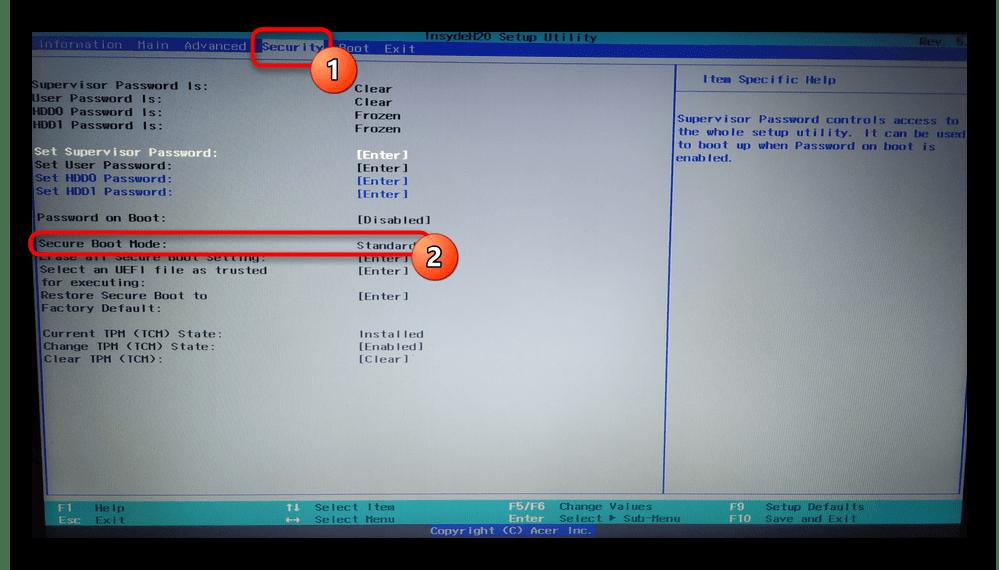 Включение Secure Boot Mode в настройках BIOS ноутбука Acer для устранения ошибки Secure Boot Fail