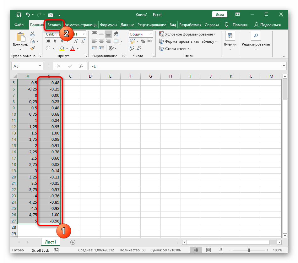 Выбор диапазона данных для построения графика функции y=sin(x) в Excel
