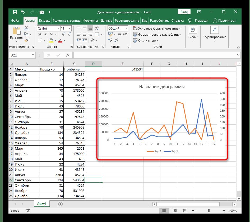 Выбор графика для использования кнопки смены осей в Excel