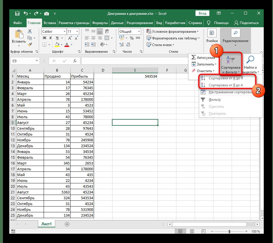 Выбор инструмента быстрой сортировки выделенных значений по алфавиту в Excel