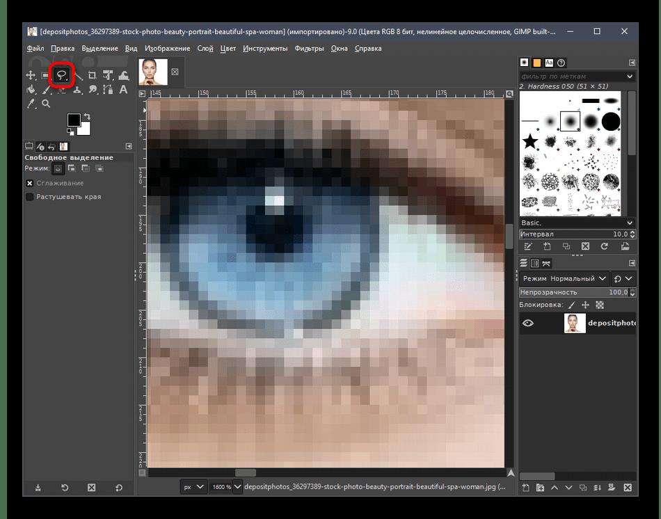 Выбор инструмента Свободное выделение для обвода глаза через программу GIMP
