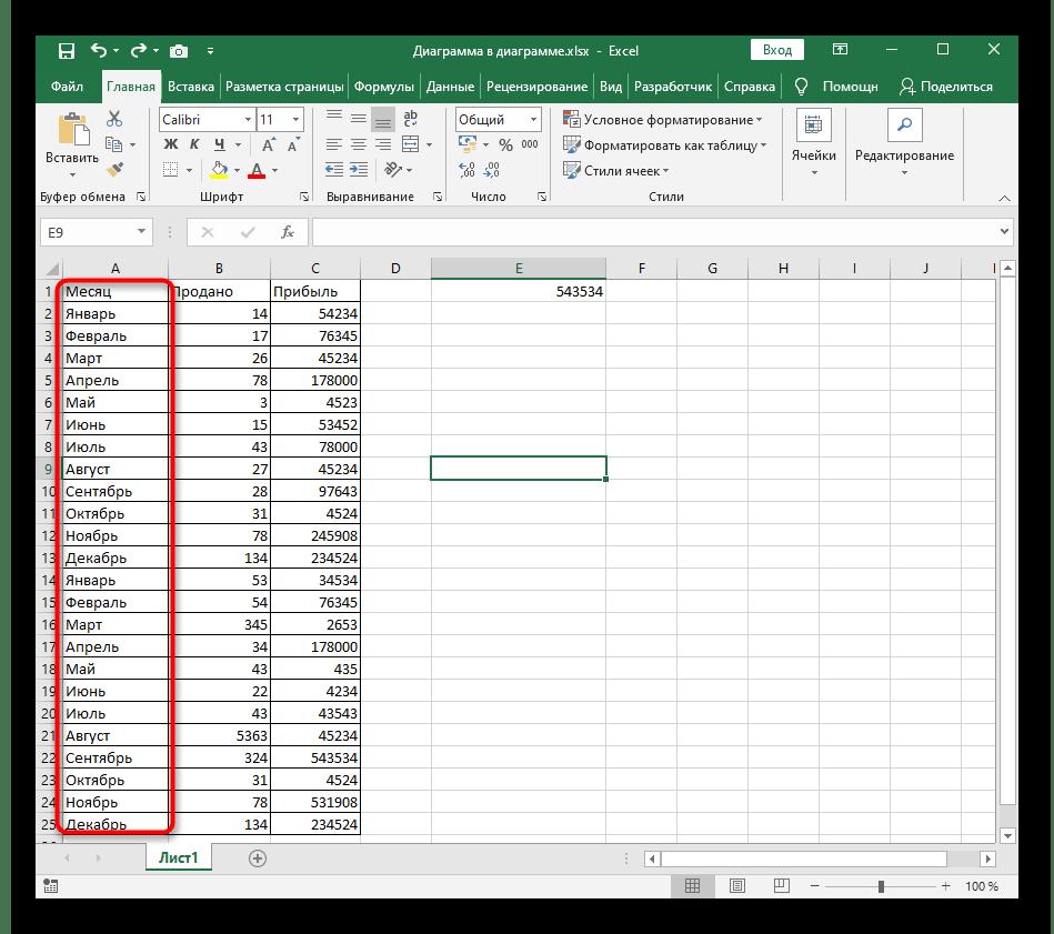 Выделение диапазона ячеек для быстрой сортировки по алфавиту в Excel