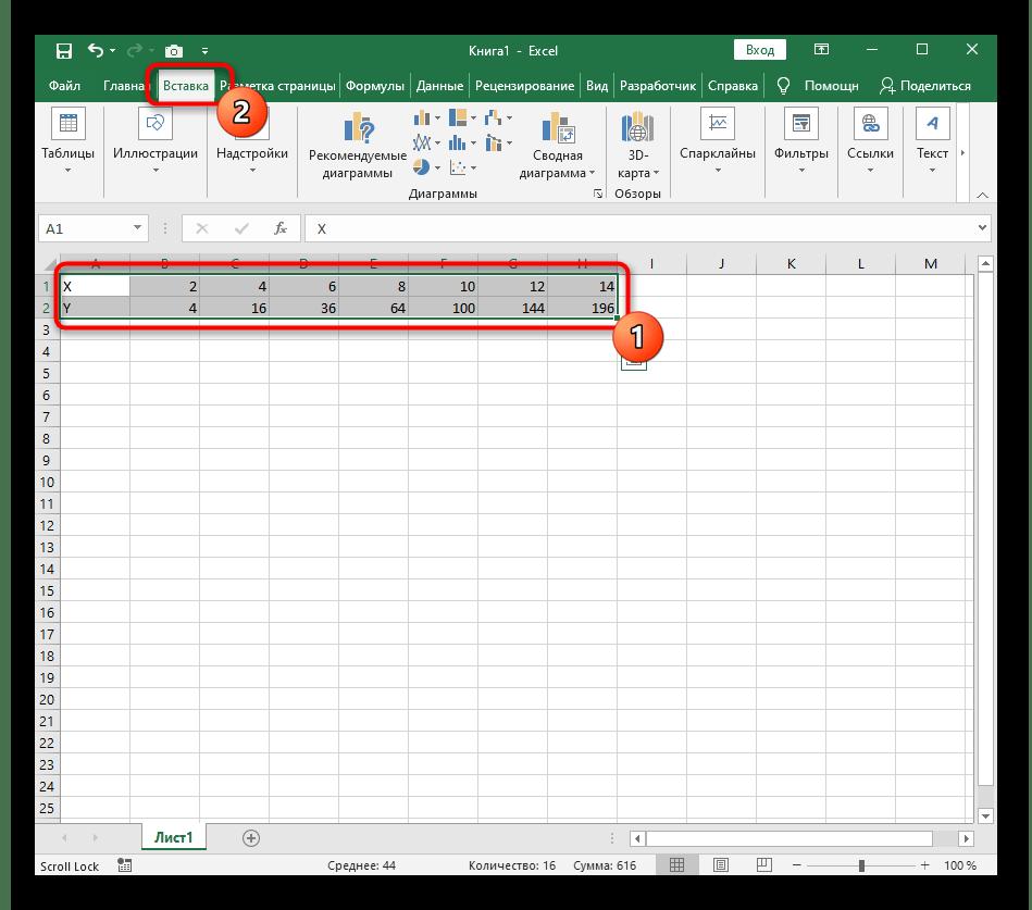 Выделение всего диапазона данных для создания графика функции X^2 в Excel