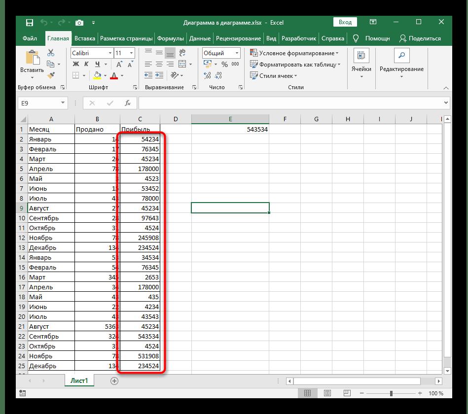 Выделение значений чисел в столбце для их сортировки по возрастанию в Excel