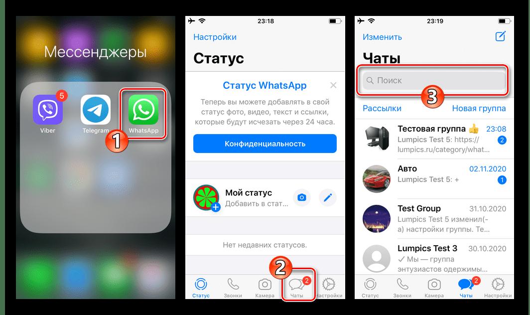 WhatsApp для iPhone запуск мессенджера, переход в раздел Чаты - поле Поиск