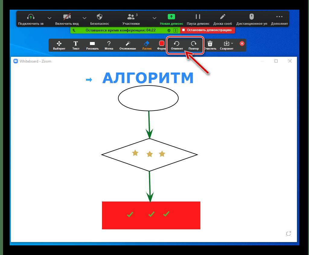 Zoom для Windows Доска сообщений опции Отменить и Повторить среди доступных в панели Рисование инструментов