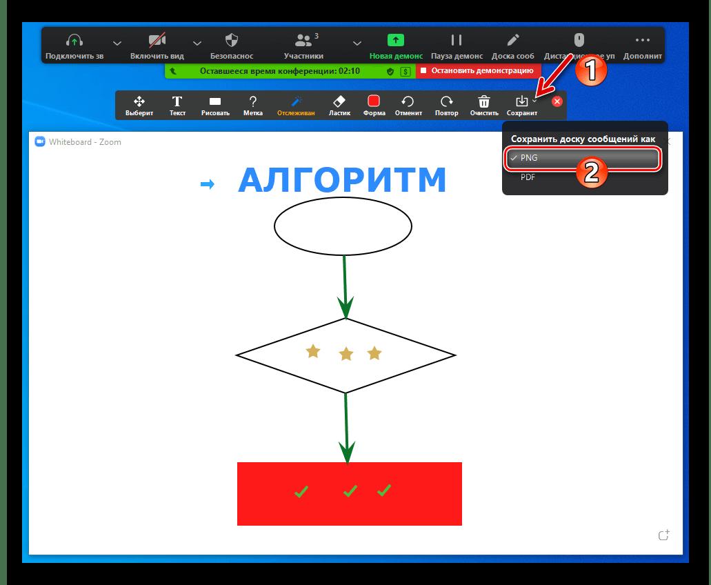 Zoom для Windows выбор формата сохранения созданного на Доске сообщений рисунка