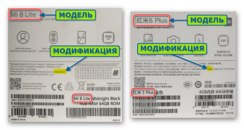 Xiaomi модель и модификация смартфона на этикетке упаковки устройства
