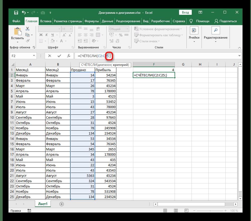 Закрытие диапазона числовых данных при создании функции СЧЁТЕСЛИ в Excel