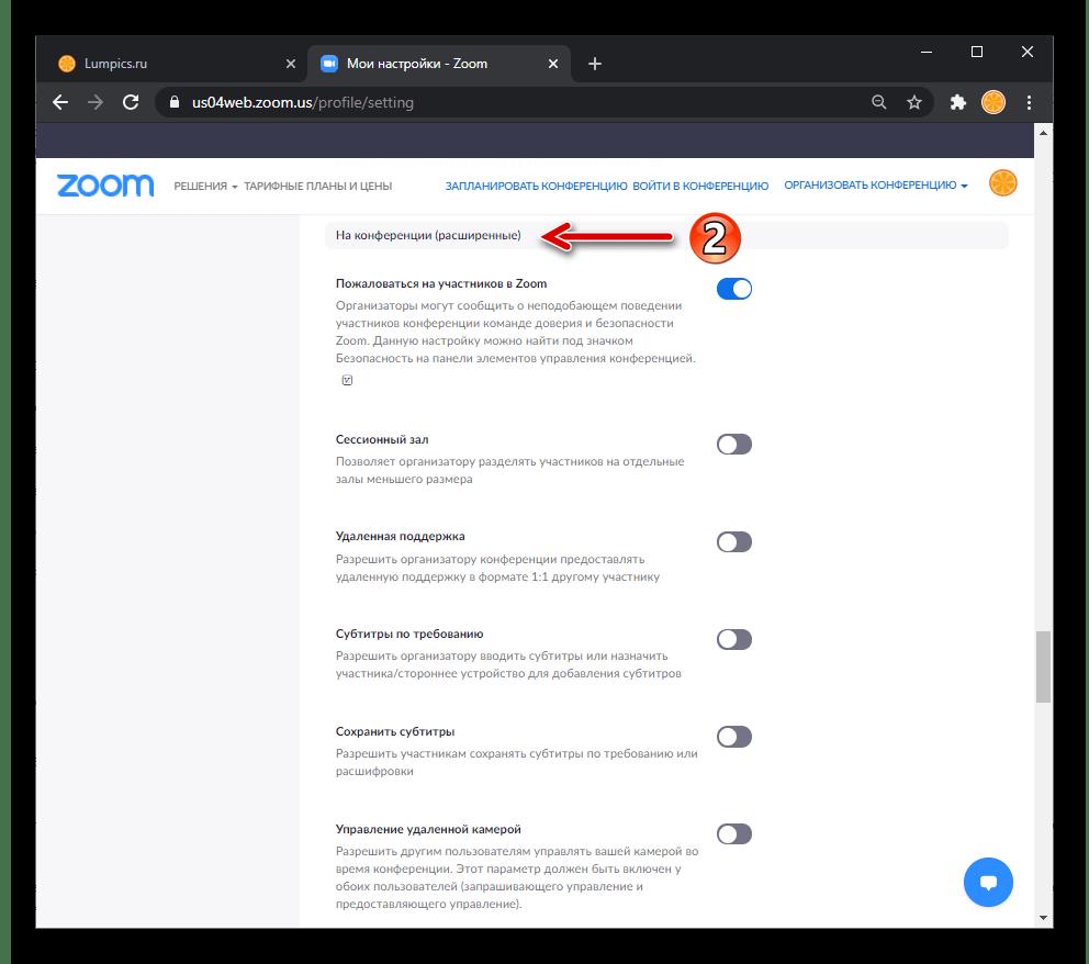 Zoom перечень параметров На конференции (расширенные) в Настройках профиля пользователя на сайте сервиса