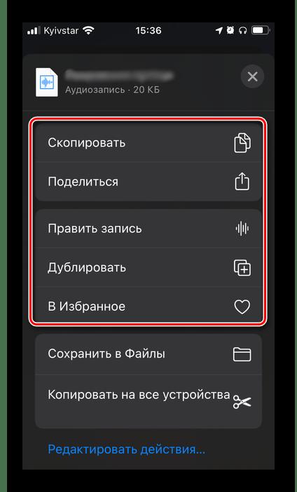 Дополнительные элементы управления аудиозаписью в приложении Диктофон для iPhone