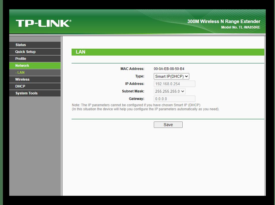 Настройка локальной сети при ручном конфигурировании усилителя TP-Link TL-WA850RE v1.2