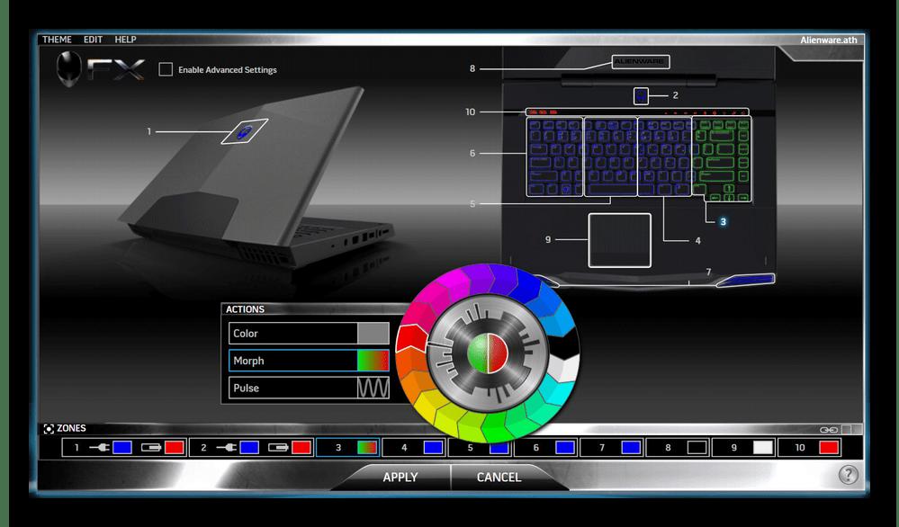Настройка RGB подсветки клавиатуры ноутбука Dell Alienware через программу Alienware Command Center
