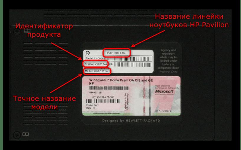 Определение названия ноутбука HP Pavilion при помощи наклейки на задней части корпуса