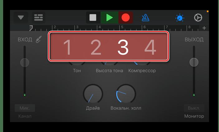 Отсчет перед записью звука в приложении GarageBand для iPhone