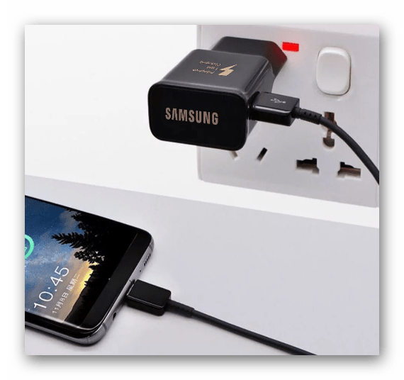 Подключение устройства Samsung к зарядному устройству