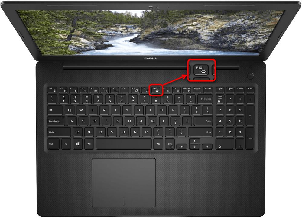 Пример включения подсветки клавиатуры на ноутбуке Dell клавишей F10