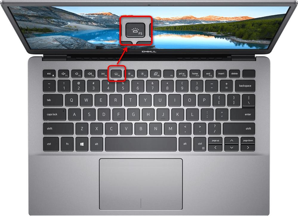 Пример включения подсветки клавиатуры на ноутбуке Dell клавишей F5